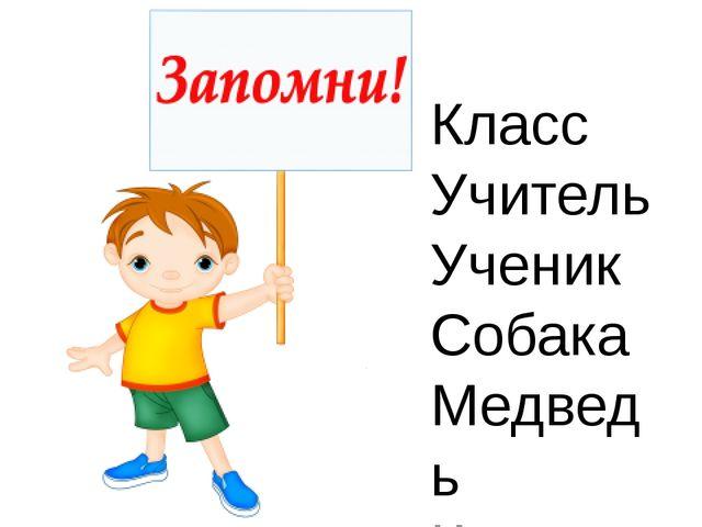 Класс Учитель Ученик Собака Медведь Картина