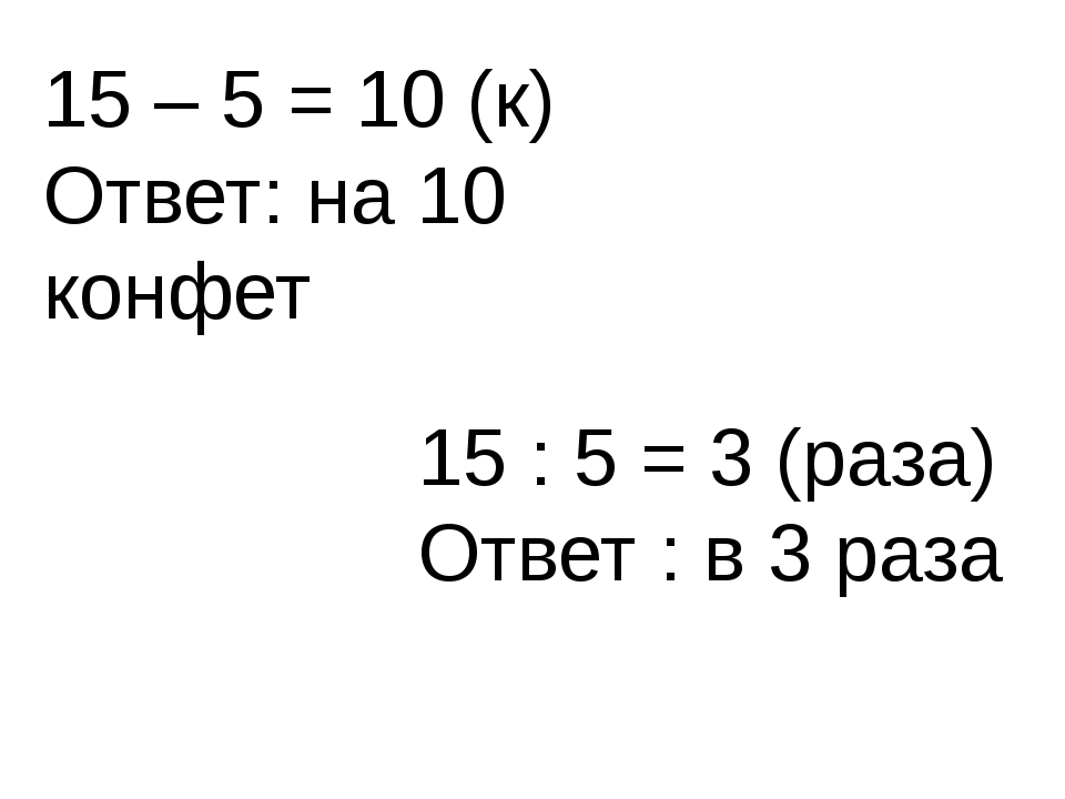 15 – 5 = 10 (к) Ответ: на 10 конфет 15 : 5 = 3 (раза) Ответ : в 3 раза