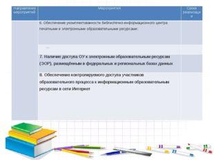Направление мероприятий Мероприятия Сроки реализации 6.Обеспечение укомплек