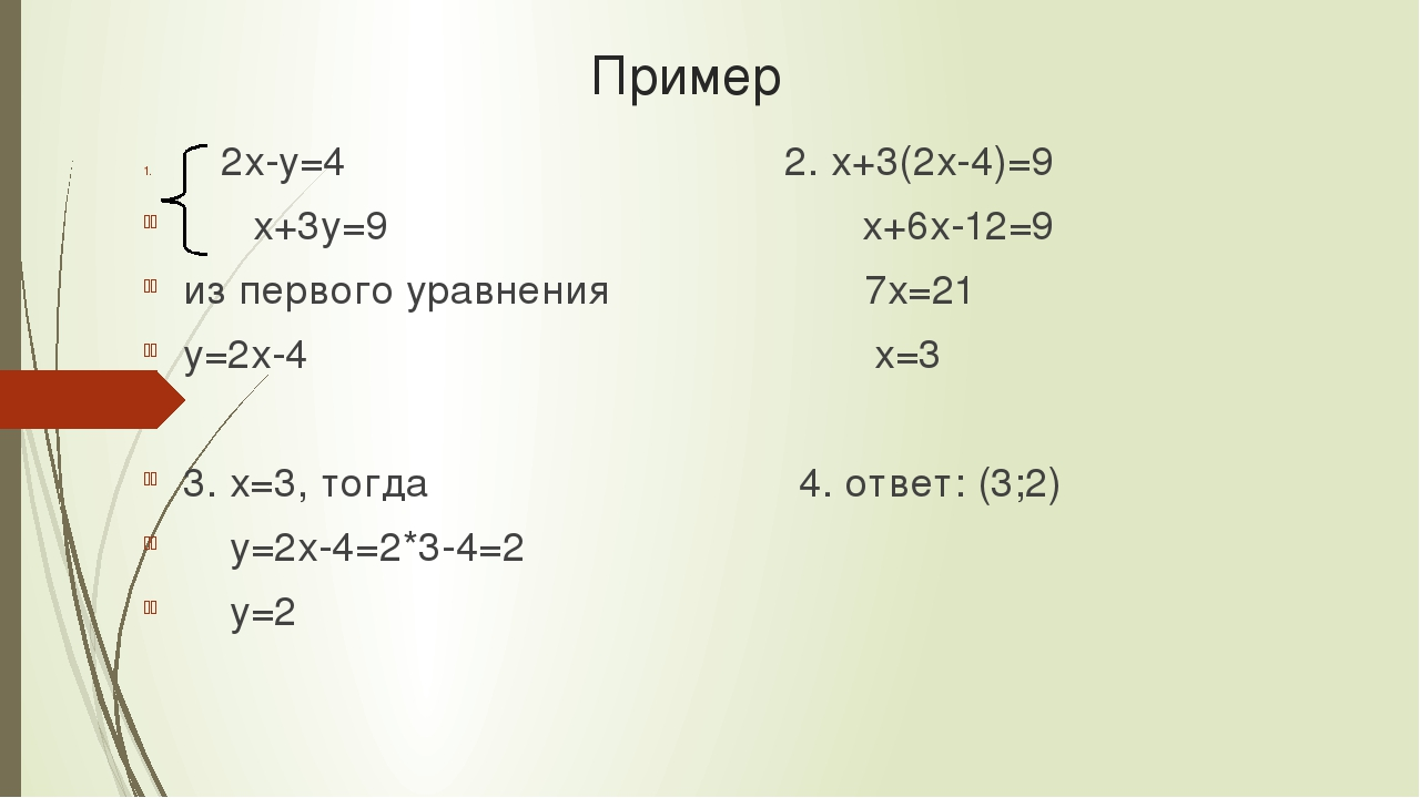 Пример 2х-у=4 2. х+3(2х-4)=9 х+3у=9 х+6х-12=9 из первого уравнения 7х=21 у=2х...