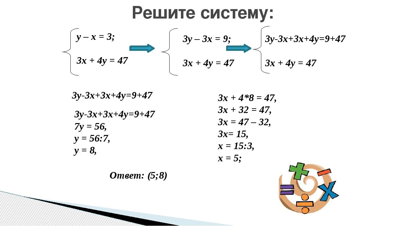 Решите систему: у – х = 3; 3х + 4у = 47 3у – 3х = 9; 3х + 4у = 47 3у-3х+3х+4у...