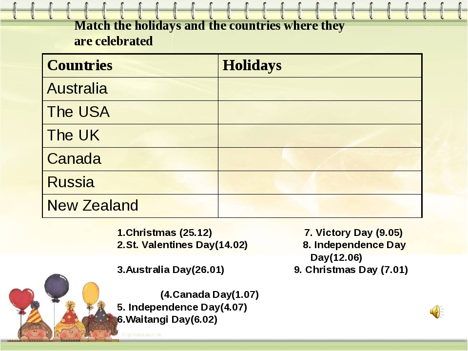 Match the holidays and the countries where they are celebrated 1.Christmas (...