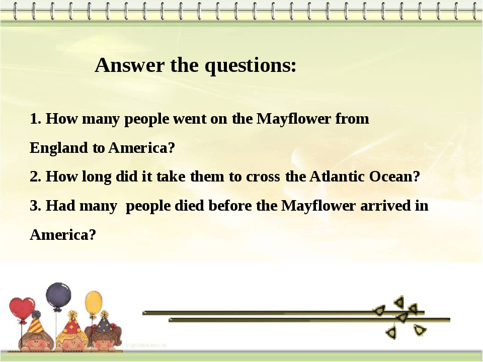 Answer the questions: 1. How many people went on the Mayflower from England t...