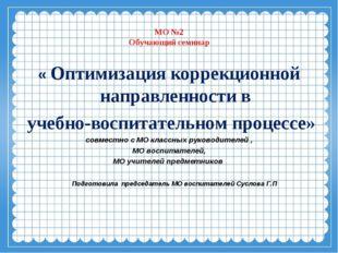 МО №2 Обучающий семинар « Оптимизация коррекционной направленности в учебно-в
