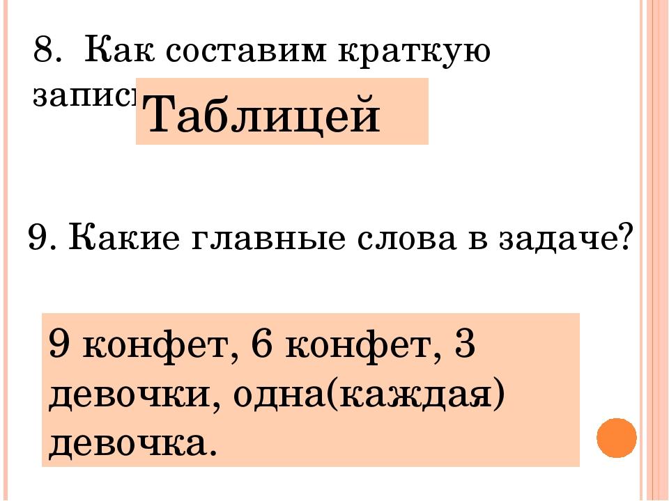 8. Как составим краткую запись? Таблицей 9. Какие главные слова в задаче? 9 к...
