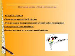 Программа кружка «Юный исследователь» МОДУЛИ кружка «Развитие познавательной