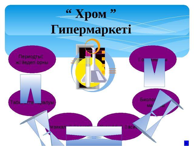 ХРОМ Хром (лат. Cromium) Cr, Д.И.Менделеевтің периодтық жүйесінің VI топ эле...