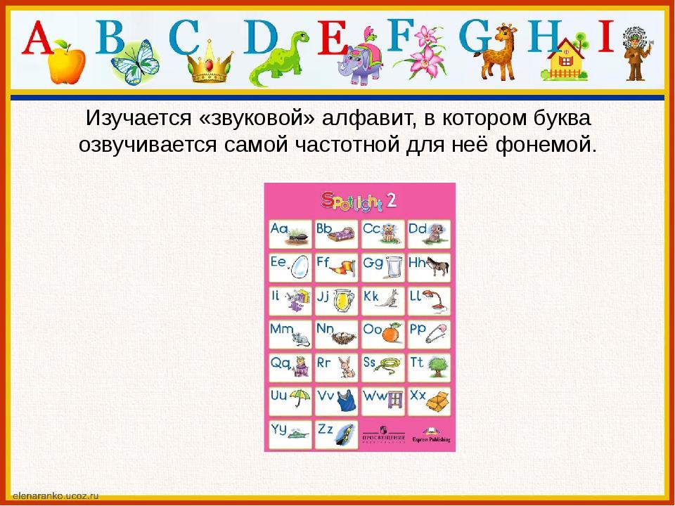 Изучается «звуковой» алфавит, в котором буква озвучивается самой частотной дл...