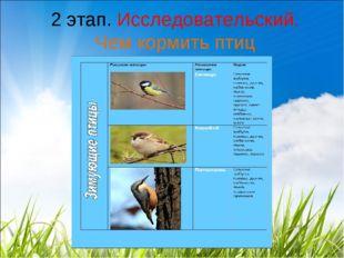 2 этап. Исследовательский. Чем кормить птиц