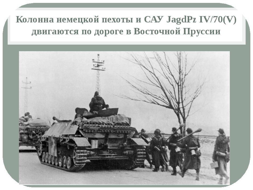 Колонна немецкой пехоты и САУ JagdPz IV/70(V) двигаются по дороге в Восточной...