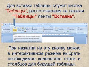 """Для вставки таблицы служит кнопка """"Таблицы"""", расположенная на панели """"Таблицы"""