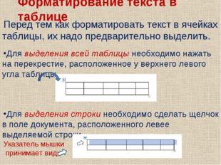 Форматирование текста в таблице Перед тем как форматировать текст в ячейках т