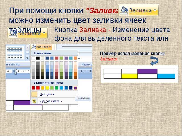 Кнопка Заливка - Изменение цвета фона для выделенного текста или абзаца При п...