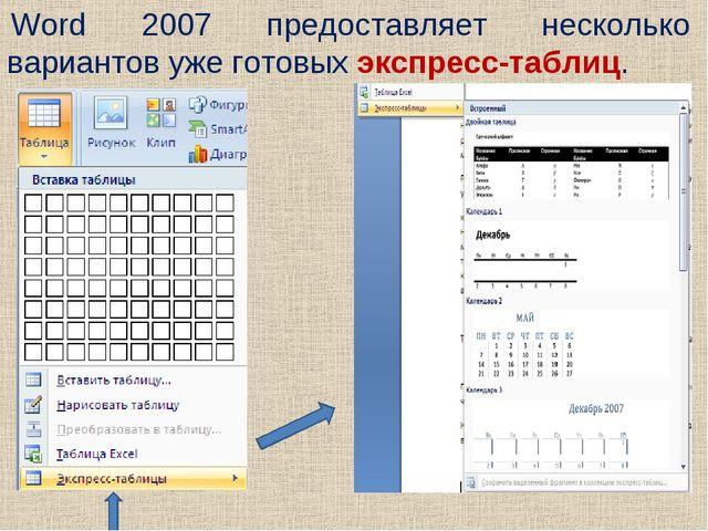 Word 2007 предоставляет несколько вариантов уже готовых экспресс-таблиц.