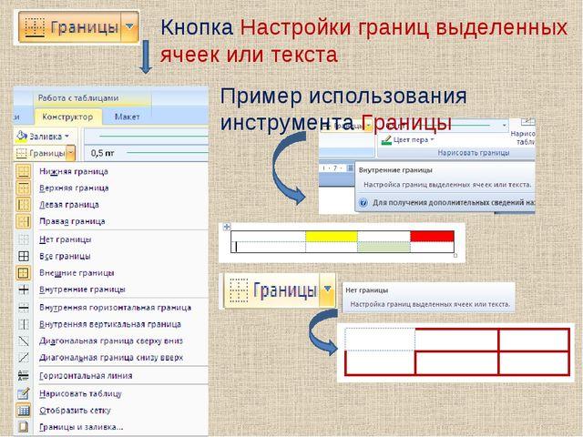 Кнопка Настройки границ выделенных ячеек или текста Пример использования инст...