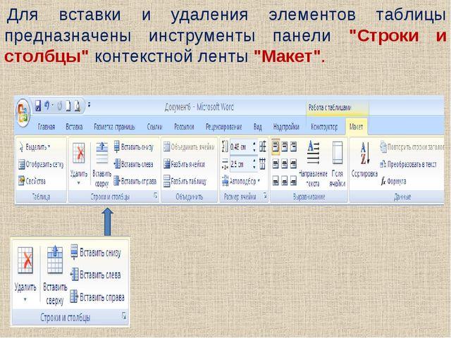 """Для вставки и удаления элементов таблицы предназначены инструменты панели """"Ст..."""