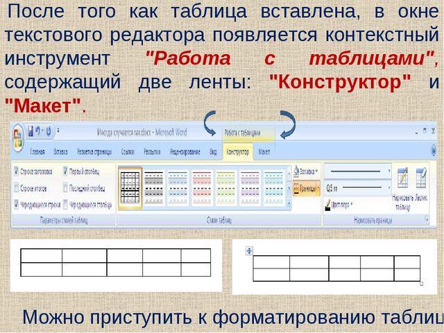 После того как таблица вставлена, в окне текстового редактора появляется конт...