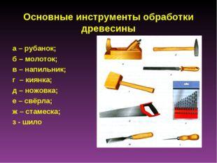 Основные инструменты обработки древесины а – рубанок; б – молоток; в – напиль
