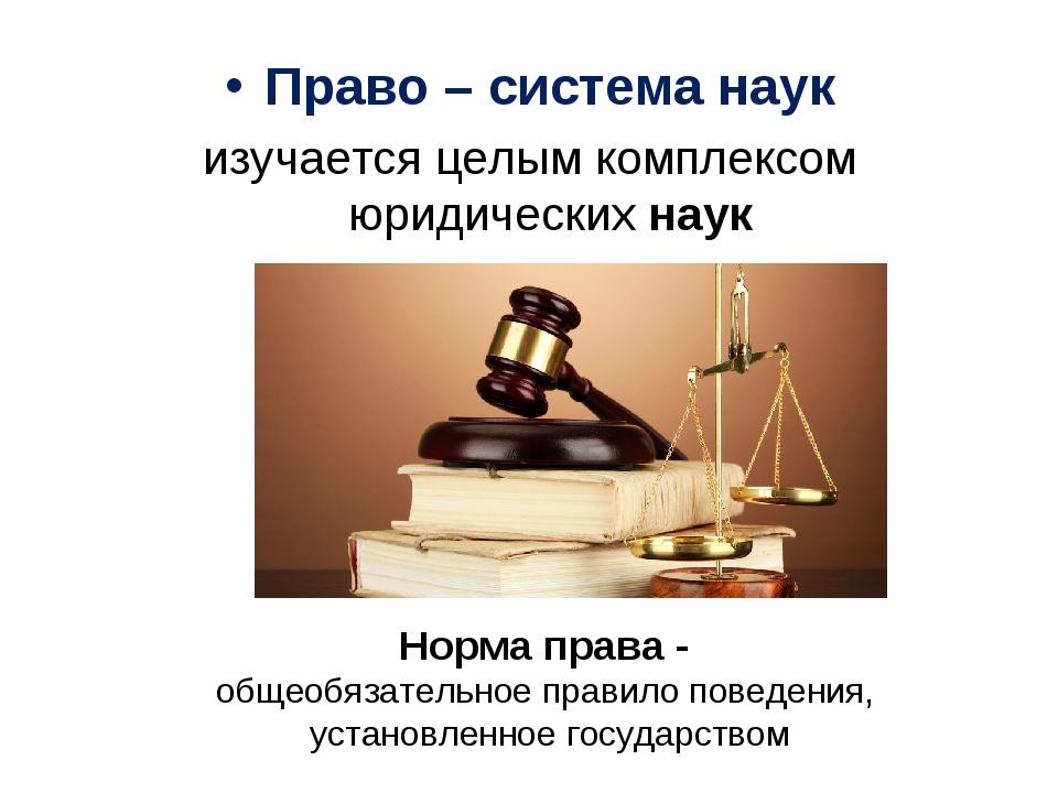 Право – система наук изучается целым комплексом юридическихнаук Норма права...