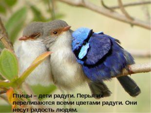 Птицы – дети радуги. Перья их переливаются всеми цветами радуги. Они несут р