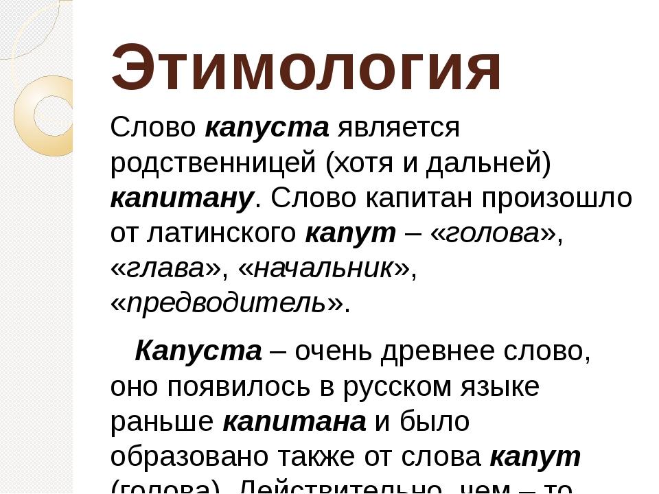 Этимология Слово капуста является родственницей (хотя и дальней) капитану. С...