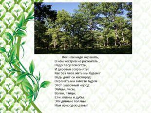 Лес нам надо охранять, В нём костров не разжигать , Надо лесу помогать, И де