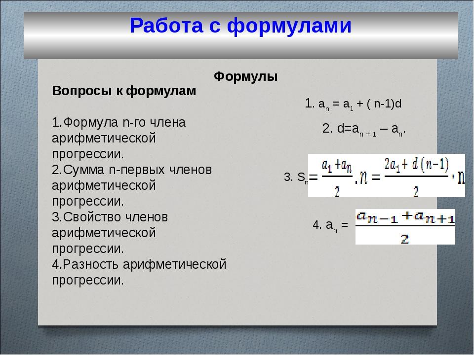 Вопросы к формулам Формула n-го члена арифметической прогрессии. Сумма n-пер...