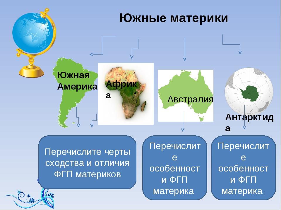 Южные материки Южная Америка Африка Антарктида Перечислите черты сходства и о...