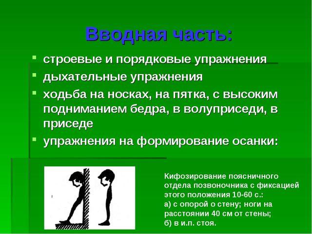 Вводная часть: строевые и порядковые упражнения дыхательные упражнения ходьба...