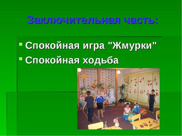 """Заключительная часть: Спокойная игра """"Жмурки"""" Спокойная ходьба"""