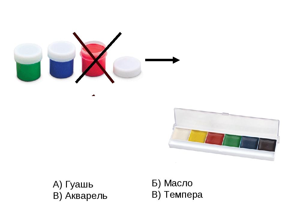 А) Гуашь В) Акварель Б) Масло В) Темпера