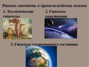 Ранние гипотезы о происхождении жизни 1. Теологические гипотезы 2. Гипотеза п