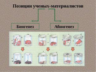 Позиции ученых-материалистов Биогенез Абиогенез
