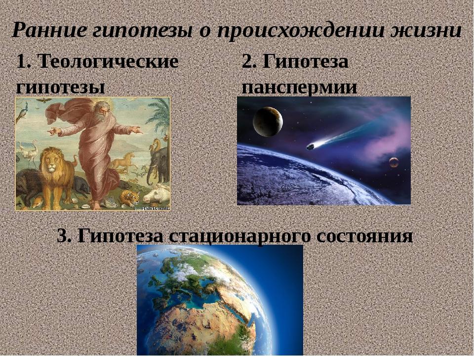 Ранние гипотезы о происхождении жизни 1. Теологические гипотезы 2. Гипотеза п...