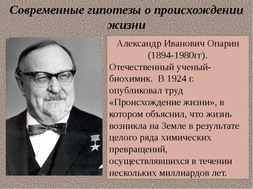 Современные гипотезы о происхождении жизни Александр Иванович Опарин (1894-19...