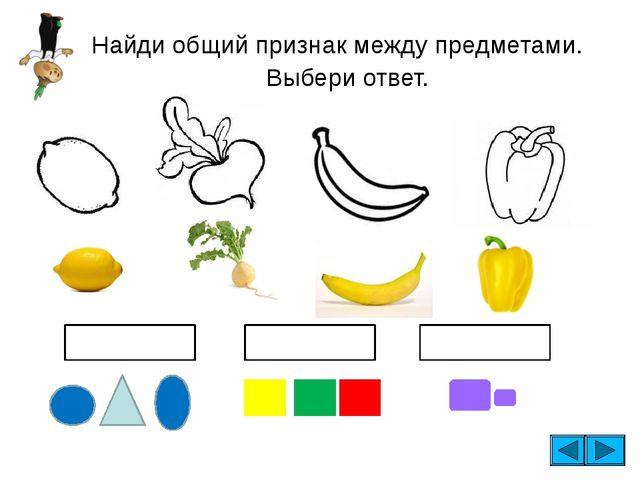 Найди общий признак между предметами. Выбери ответ. ФОРМА размер ЦВЕТ