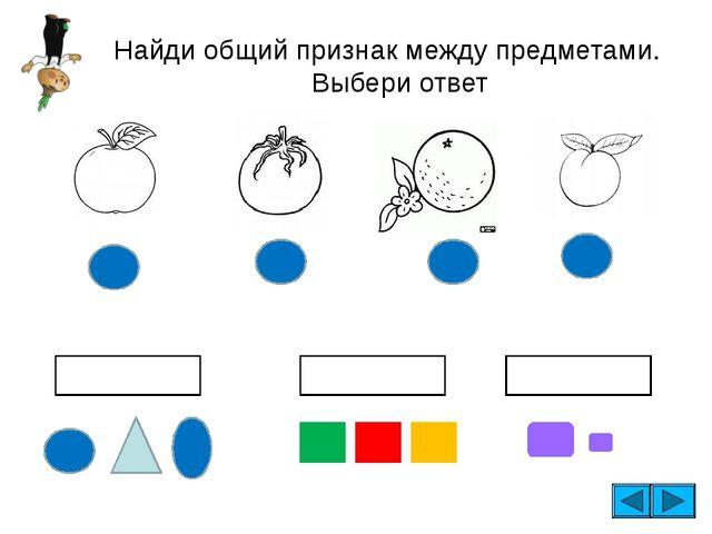 Найди общий признак между предметами. Выбери ответ ФОРМА ЦВЕТ размер