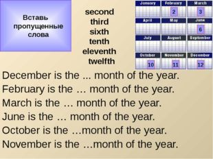 second third sixth tenth eleventh twelfth December is the ... month of the ye