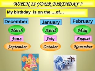 My birthday is on the …of… WHEN IS YOUR BIRTHDAY ? February December January