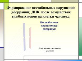 Формирование нестабильных нарушений (аберраций) ДНК после воздействия тяжёлых