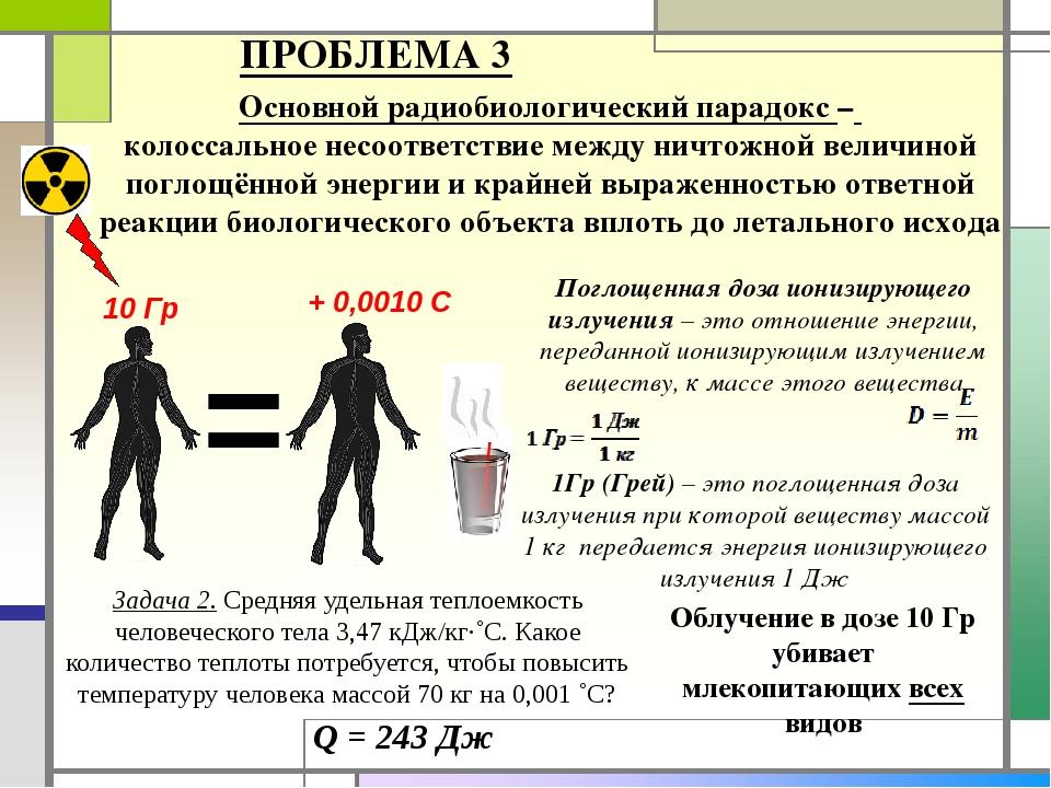 Основной радиобиологический парадокс – колоссальное несоответствие между ничт...