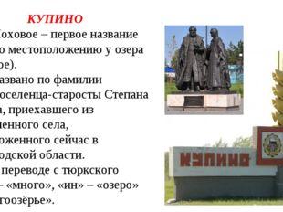 КУПИНО 1.Моховое – первое название села (по местоположению у озера Моховое).