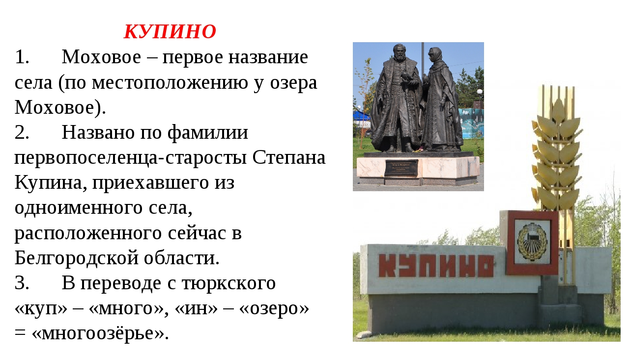 КУПИНО 1.Моховое – первое название села (по местоположению у озера Моховое)....
