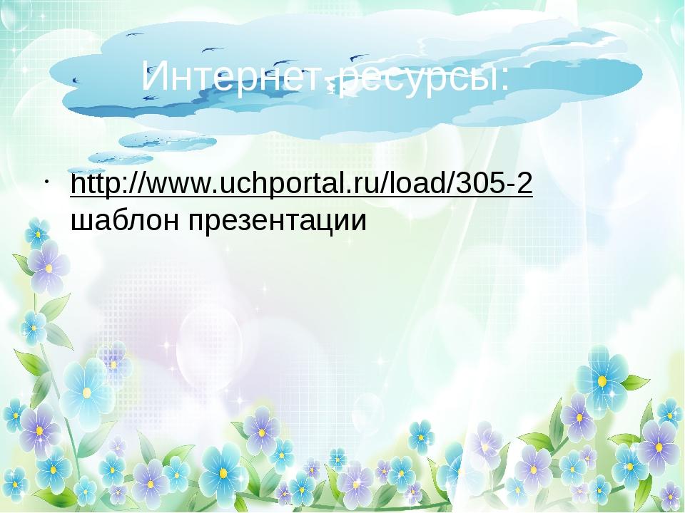 http://www.uchportal.ru/load/305-2 шаблон презентации Интернет-ресурсы: