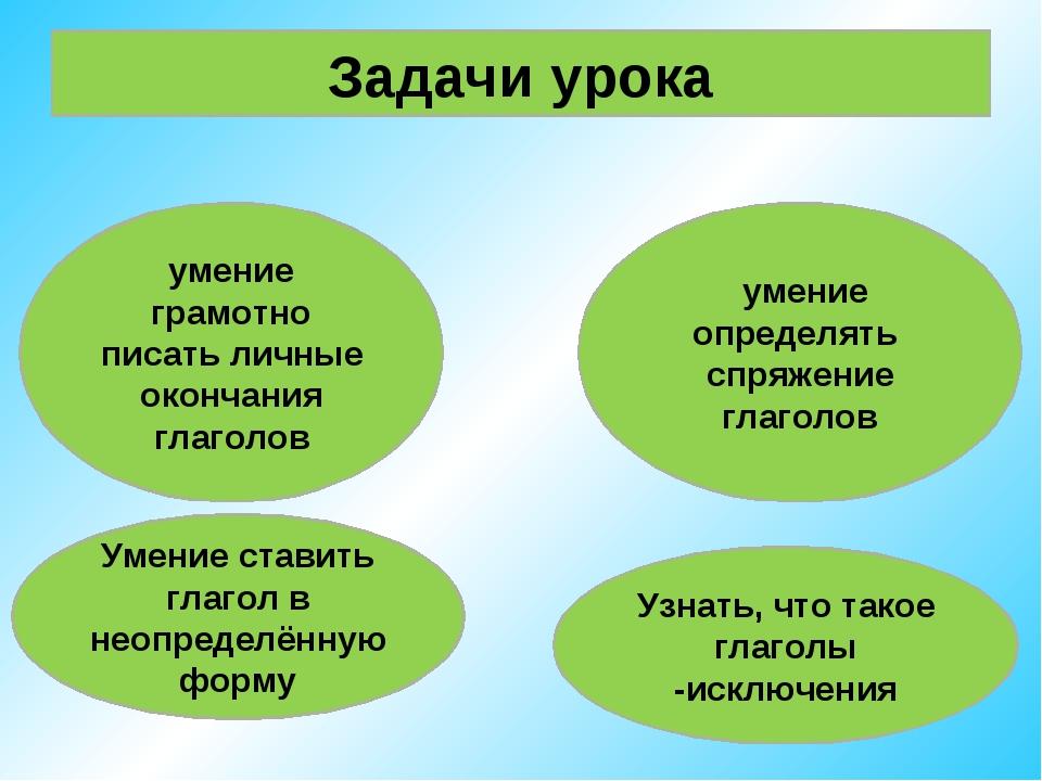 Задачи урока умение грамотно писать личные окончания глаголов умение определя...