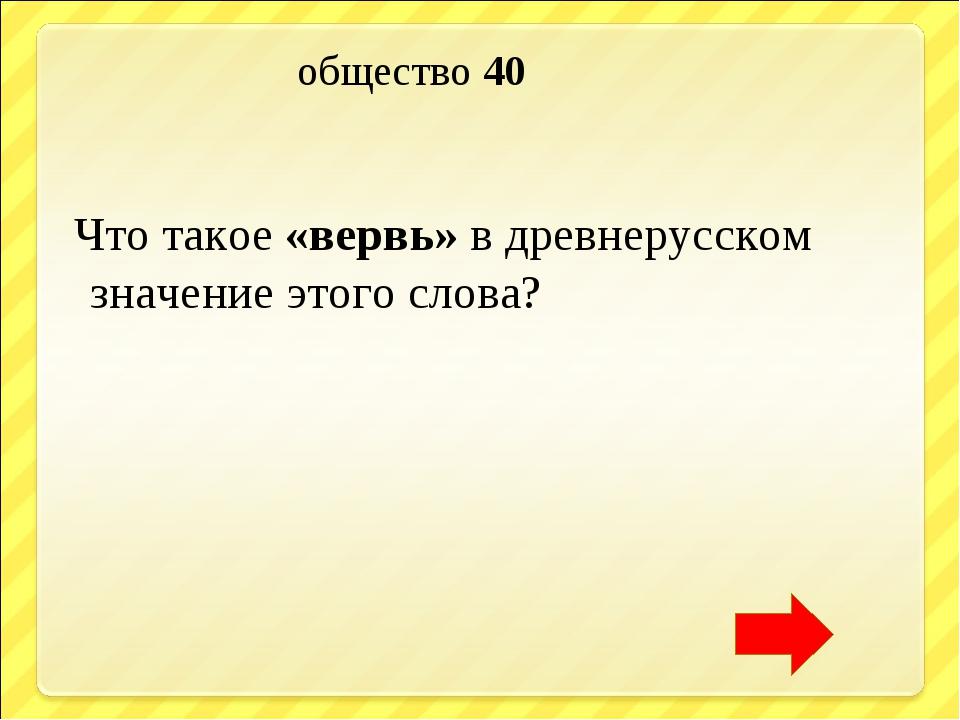 общество 40 Что такое «вервь» в древнерусском значение этого слова?