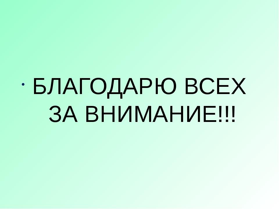 БЛАГОДАРЮ ВСЕХ ЗА ВНИМАНИЕ!!!