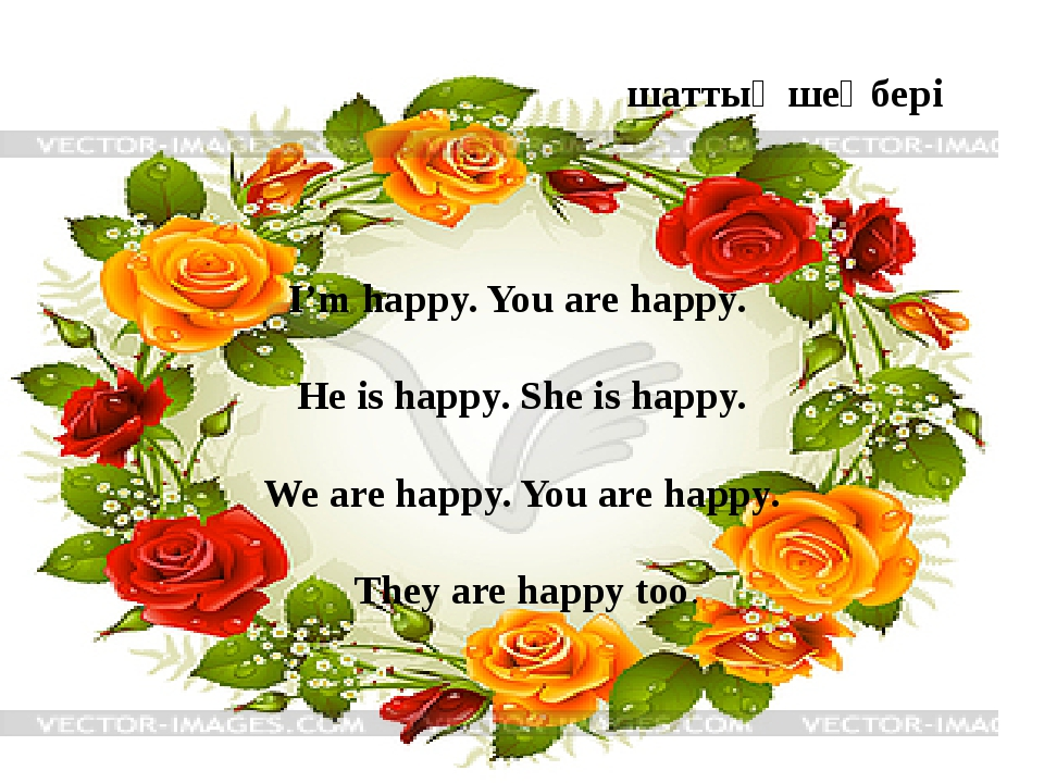 I'm happy. You are happy. He is happy. She is happy. We are happy. You are h...