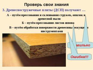 Проверь свои знания 3. Древесностружечные плиты (ДСП) получают … А – путём пр