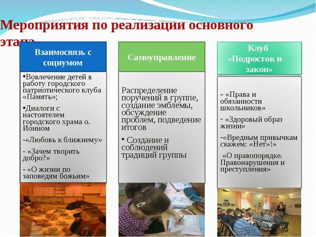 Мероприятия по реализации основного этапа Взаимосвязь с социумом Самоуправление